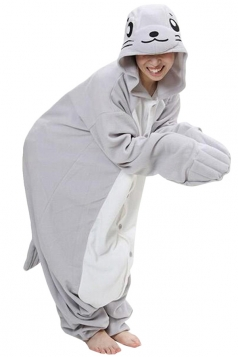 Gray Cute Seal Flannel Womens Jumpsuit Pajamas Costume