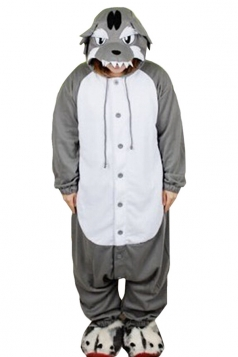 Gray Cute Wolf Flannel Womens Jumpsuit Pajamas Costume