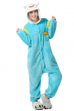 Blue Cute Flannel Womens Jumpsuit Pajamas Costume
