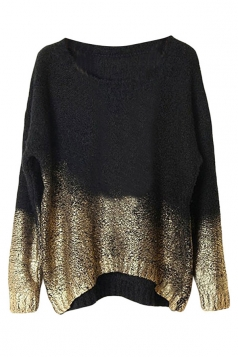 Black Womens Gilding Batwing Sleeve Pattern Pullover Sweater