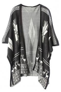 Black Ladies Deer Printed Crochet Sweater Gardigan