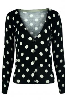 Black V Neck Polka Dot Patterned Button Womens Cardigans Sweater