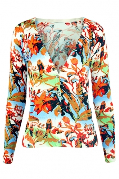 Blue V Neck Floral Patterned Button Chic Womens Cardigans Sweater