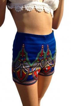 Blue Ladies Casual Floral Printed Mini Shorts