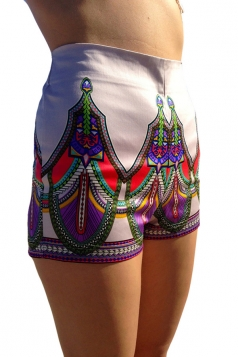 Purple Ladies Casual Floral Printed Mini Shorts