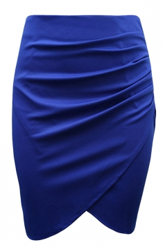 Blue Womens Sexy Plus Size Patchwork Pencil Skirt