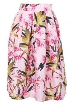 Pink Stylish Womens Flower Printed Midi Skirt