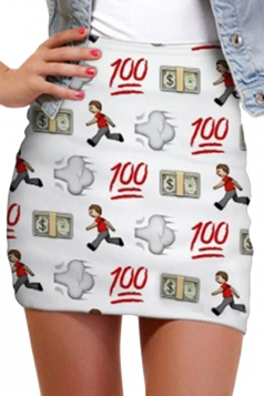 Beige White Ladies Slim 100 Scores Printed Mini Skirt