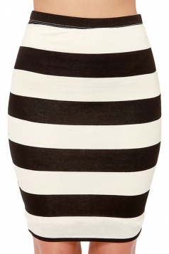 Black Striped High Waist Slimming Sexy Ladies Mini Skirt