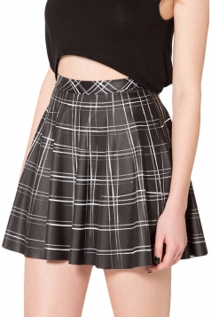 Black Ladies Chic Grid Printed Mini Skirt