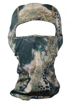 Khaki Geometry Printed Covered Half Face Ski Mask