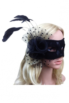 Black Mesh Feather Pretty Womens Halloween Mask