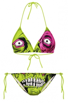 Green Zombie Printed String Bikini Top & Swimwear Bottom