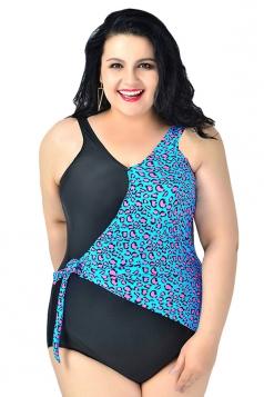 Blue Ladies Plus Size Floral Printed Monokini
