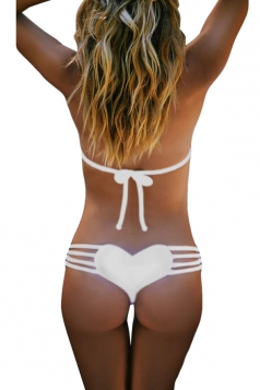 White Bandage Heart Pattern Sexy Chic Ladies Swimsuit Bottom