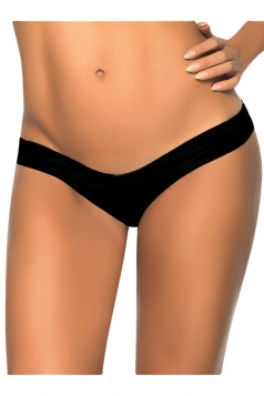 Black V Shape Plain Sexy Chic Womens Swimsuit Bottom