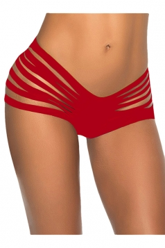 Red Bandage Cut Out Sexy Chic Womens Swimsuit Bottom