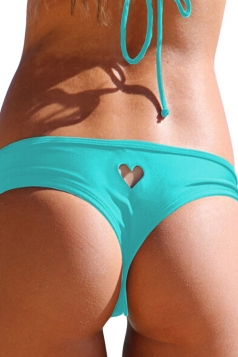 Blue Heart Cut Out Sexy Chic Womens Swimsuit Bottom