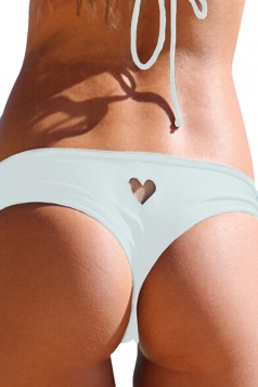 White Heart Cut Out Sexy Chic Womens Swimsuit Bottom