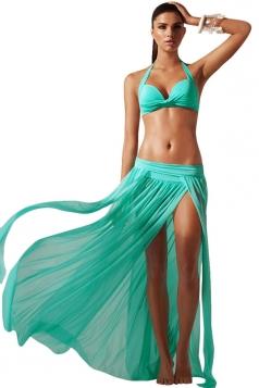 Blue Ladies See Through High Slit Beach Dress