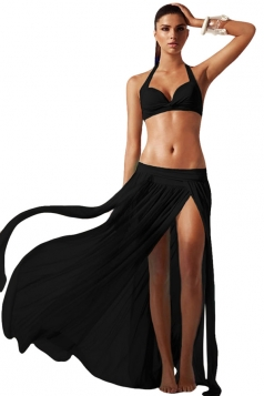 Black Ladies See Through High Slit Beach Dress