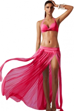 Rose Red Ladies See Through High Slit Beach Dress