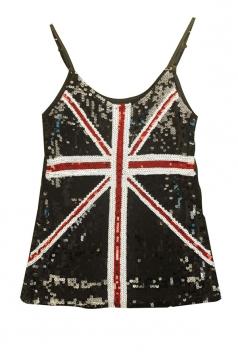 Black Ladies Sequined Mesh Flag Printed Tank Top