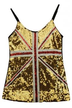 Gold Ladies Sequined Mesh Flag Printed Tank Top