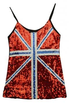 Red Ladies Sequined Mesh Flag Printed Tank Top