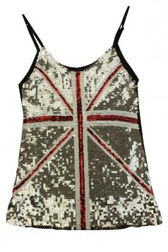 Sivery Ladies Sequined Mesh Flag Printed Tank Top