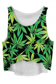 Green Leaves Printed High Low  Fashion Ladies Crop Top