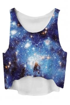 Blue Gradient High Low Galaxy Printed Fashion Ladies Crop Top