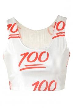 White High Low 100 Score Printed Fashion Ladies Crop Top