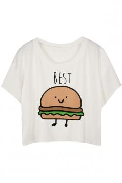 White Loose Hamburger Printed Ladies T-shirt
