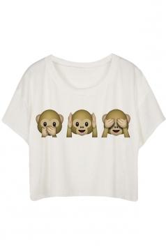 White Loose Monkey Printed Ladies T-shirt
