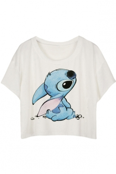 White Loose Stitch Printed Ladies T-shirt