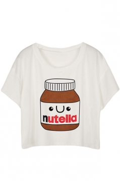 Womens Fashion Nutella Printed T-shirt White
