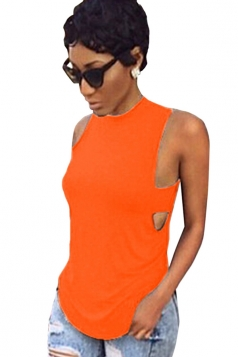 Orange Plain Backless Sleeveless Sexy Womens Halter Top