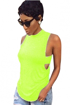Green Plain Backless Sleeveless Sexy Womens Halter Top