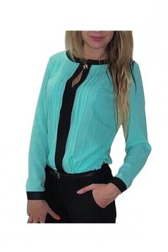 Turquoise Chiffon Crew Neck Long Sleeve Slimming Womens Blouse
