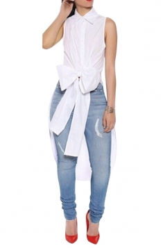 Ladies Bow Tail Sleeveless Chic Blouse White