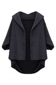 Black Irregularly Batwing Sleeve Pretty Womens Blazer