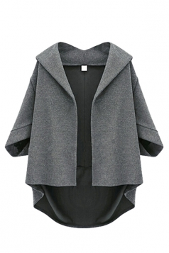 Dark Gray Irregularly Batwing Sleeve Pretty Womens Blazer