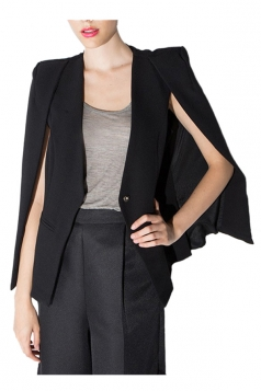 Black Opened Sleeve One-Button Pretty Womens Cape Blazer