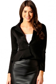 Ladies V Neck Ruffled Turndown Collar Tunic Long Sleeve Blazer Black