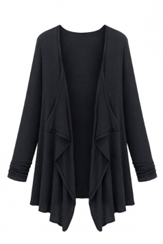 Womens Irregular Cardigan Loose Medium Style Trench Coat Black