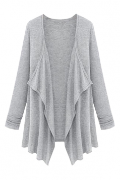 Womens Irregular Cardigan Loose Medium Style Trench Coat Gray