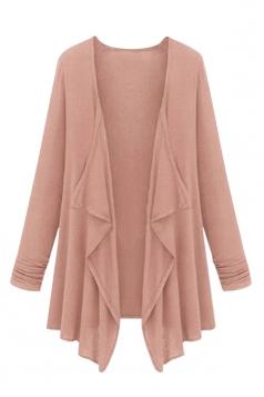 Womens Irregular Cardigan Loose Medium Style Trench Coat Pink