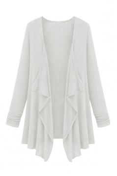 Womens Irregular Cardigan Loose Medium Style Trench Coat White