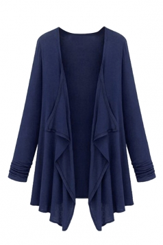 Womens Irregular Cardigan Loose Medium Style Trench Coat Navy Blue